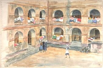 Courtyard, Terezin Terezin Ghetto 1941-1943 - 31.5 x 47.5 cm  © Beit Lohamei Haghetaot, Museum Numero 1138.  Donado por Hans Ekstein y Lisa Fittko, Chicago