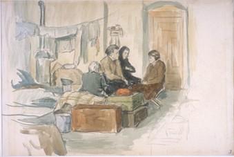 Four Women in a Dormitory Terezin Ghetto 1942-1944  © Beit Lohamei Haghetaot, Museum Numero 1138.  Donado por Hans Ekstein y Lisa Fittko, Chicago