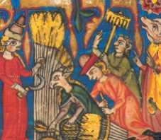 """Fig. 23 a (detalle) Ruth representada con cabeza de animal, con una hoz en su diestra, se encuentra cosechando entre cuatro personajes, sus manos protegidas con guantes, (práctica inusual)*30 uno de ellos sosteniendo un rastrillo, otro enfardando atados de espigas; Boaz, esposo de Ruth, con cabeza de cerdo, sermoneando a su gente: """"déjenla cosechar entre los fardos preparados y no le reprochen nada... más aún, si pueden agreguen algunas espigas a sus a fardos"""" (en señal de respeto y consideración) hacia Ruth."""