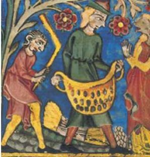 Fig. 23b (detalle) Se observa a Ruth con sus manos en actitud reflexiva, conversa con dos hombres, uno de los cuales sostiene una bolsa de granos, mientras que el otro con una vara de madera de forma especial le pega a la bolsa para separar la paja del grano