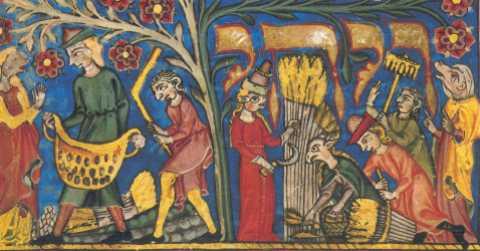Fig. 23 Libro de Ruth, Ruth y Boaz Fiesta de Pentecostes, (Shavuot) Alemania 1320/5