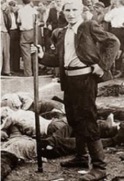 """lituano participante de la masacre de 68 judíios en el garaje Lietukis en la ciudad de Kaunas entre el 25 y 27 de junio de 1941 , en el primer día de la invasión alemana a Rusia –Operación Barbarroja(llamado """"Dead Dealer"""")"""